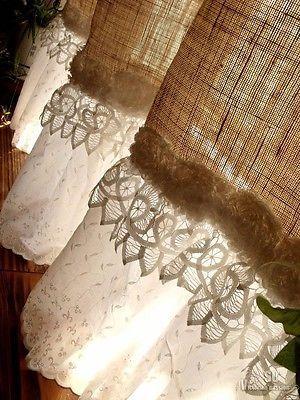 Custom Shabby Chic de serapilheira rústica Cortina de Chuveiro Valance branco plissado do laço francês