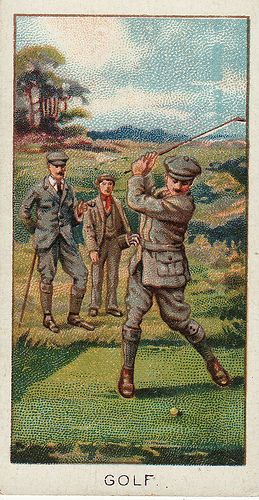 "cigarette card, 1925 TO THE IMMORTAL MEMORY OF JOHN HENRIE AND PAT ROGIE WHO AT EDINBURGH IN THE YEAR 1593 A.D. WERE IMPRISONED FOR ""PLAYING OF THE GOWFF ON THE LINKS OF LEITH EVERY SABBATH THE TIME OF THE SERMONSES"", ALSO OF ROBERT ROBERTSON WHO GOT IT IN THE NECK IN 1604 A.D. FOR THE SAME REASON"