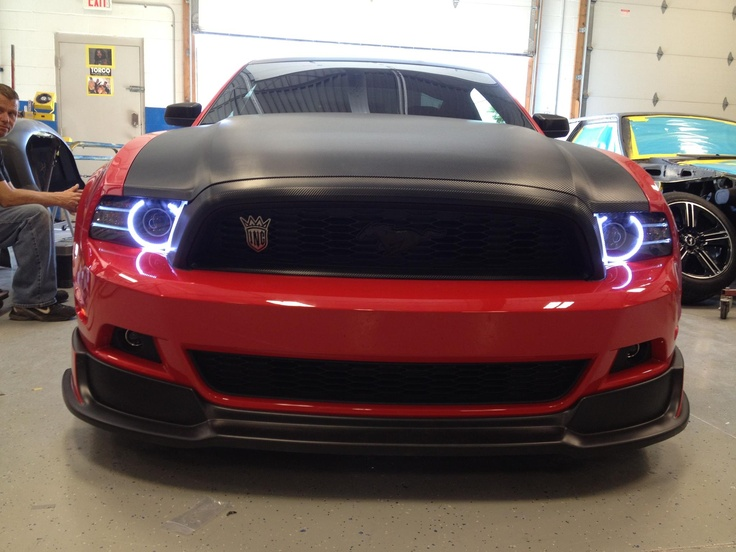 Red Mustang with Oracle Lights LED lighting Pinterest