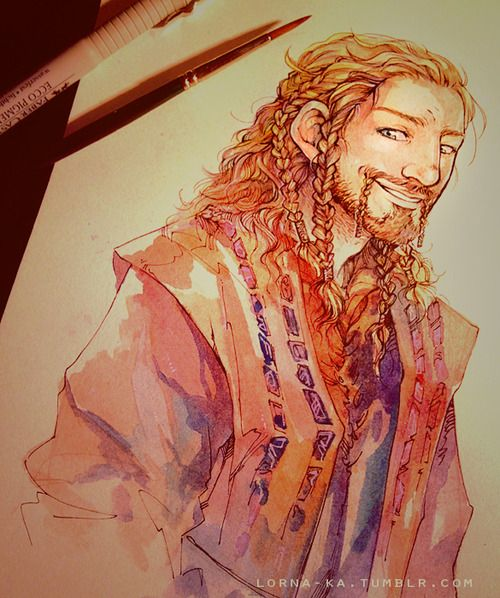 "Gorgeous drawing of Fili from ""I'm just a cactus"" (lorna-ka.tumblr.com)."
