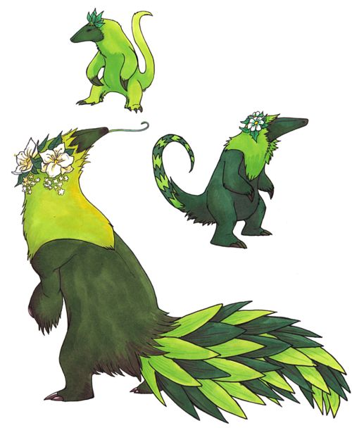 I love these. beltaguise:  I was bored so I redrew those anteater pokemon of mine. And I just realized that making them grass/psychicgives them a 4x weakness to bugs. Whoops.