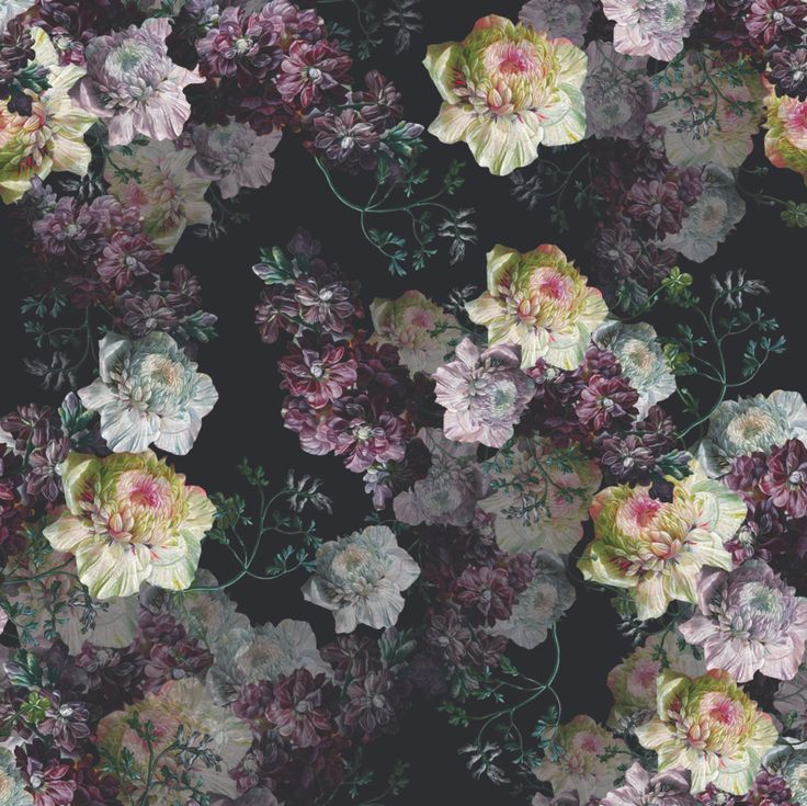 Dark Floral Print Design #dark #flowers #rose #purple #leaves #tile #print #design #fashion # ...