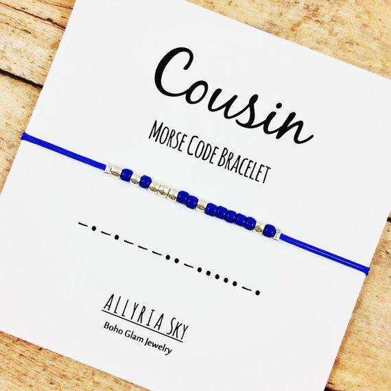 Cousin Morse Code Bracelet  Morse Code Jewelry  by AllyriaSky