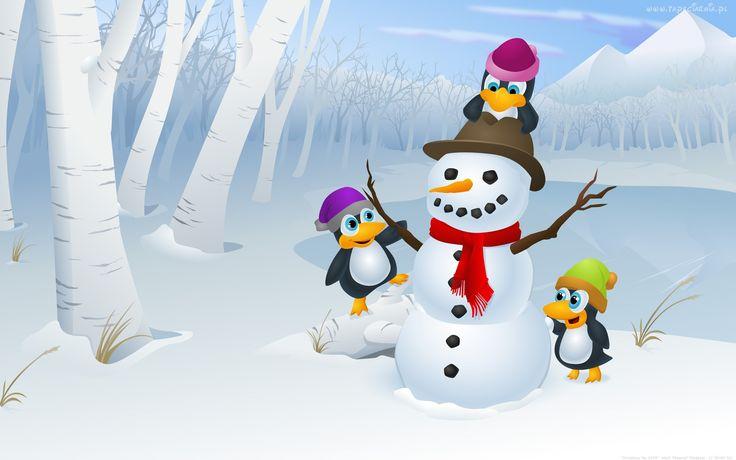Zima, Bałwan, Pingwiny
