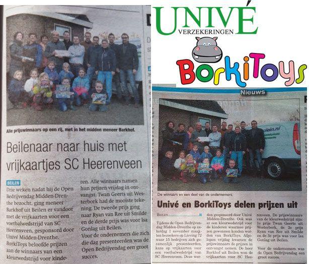 Afgelopen week leuke stukjes in de Krant van Midden-Drenthe en het Gezinsblad over de actie die we hadden op de Open BedrijvenDag Midden-Drenthe in samenwerking met Univé Midden-Drenthe en de kleurwedstrijd samen met BorkiToys.nl. Vorige week vrijdag namen de gelukkige prijswinnaars de prijzen in ontvangst. http://koopplein.nl/middendrenthe/199346/univé-midden-drenthe-en-borkitoys-delen-uit.html