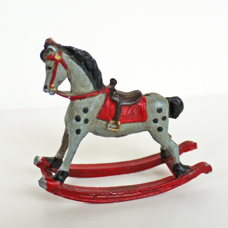 Vintage Miniature Rocking Horse Painted Metal Estate