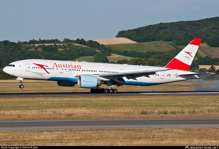 Austrian Airlines Boeing 777-2Z9(ER) OE-LPA aircraft, named ''from 1997-2005 Pablo Picasso, from 2005-2007 Melbourne & from 2007 till now Sound of Music'', landing to Austria Vienna Schwechat International Airport. 22/06/2014.
