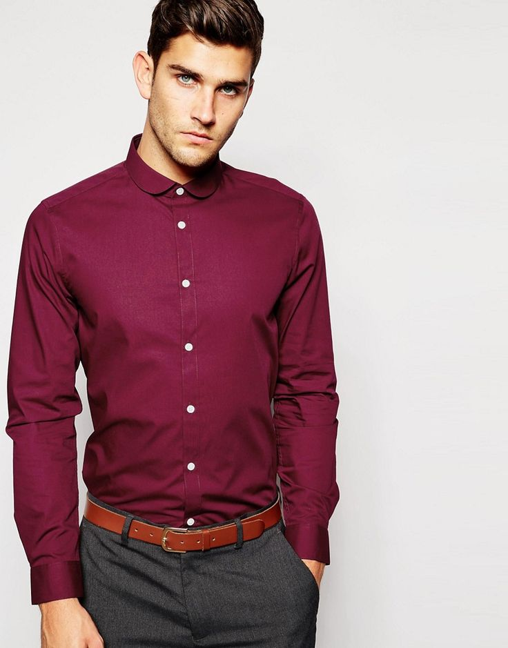 ASOS+Smart+Shirt+In+Long+Sleeve+With+Curve+Collar