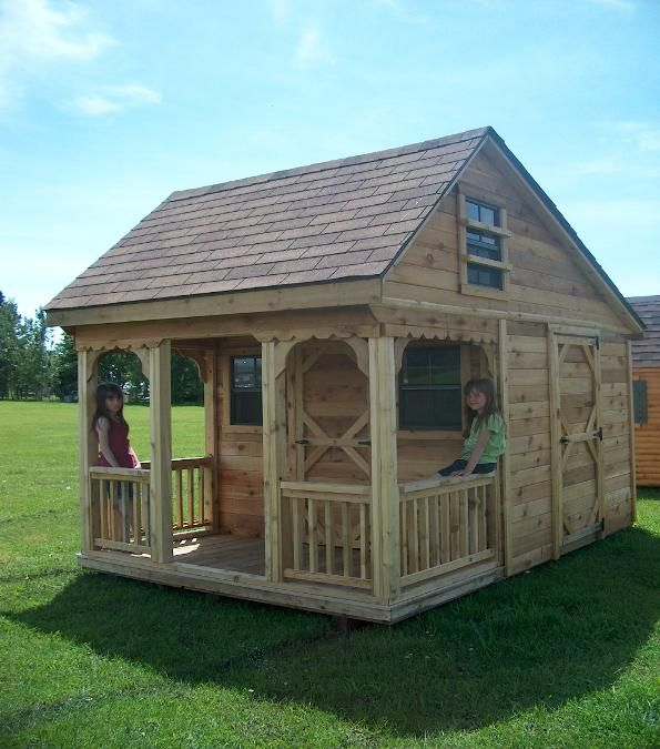 Outdoor playhouse plans with loft woodworking projects for Playhouse with porch plans