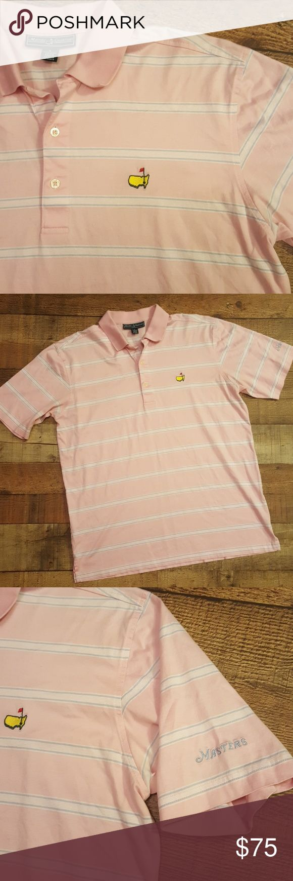 Mens PGA Masters Golf Shirt - Size Large Pink & blue striped golf shirt  Purchased at Masters tournament for husband but he never wore! Paid $159 NWOT Excellent condition  100% pima cotton Masters Collection Shirts Polos
