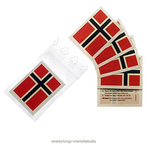 Norwegen Tattoo Fahnen Fan Set - EM Fanartikel - Norwegen Fahne - Fanartikel  5er 10er & 25er Norwegen Tattoo Sets