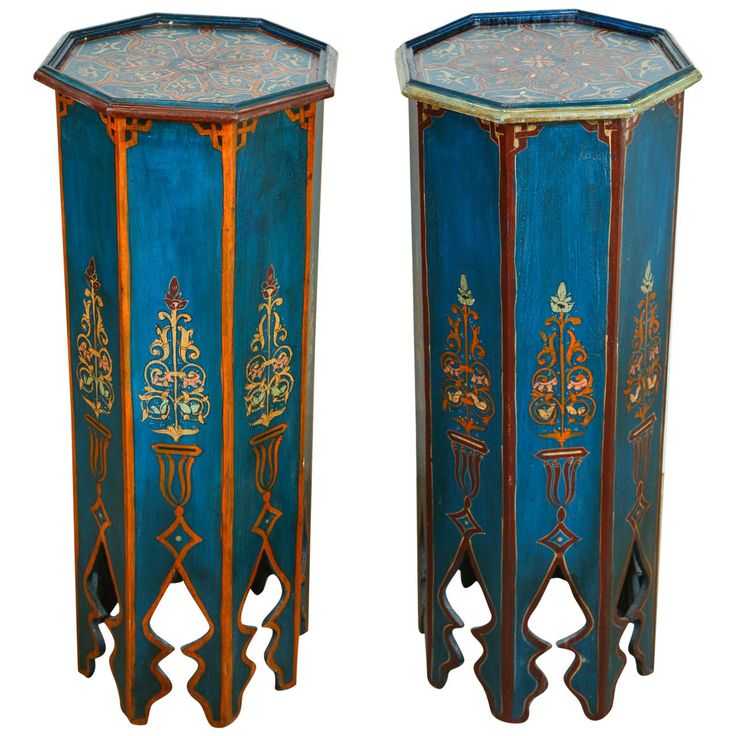 Pair of Moroccan Pedestals Tables | From a unique collection of antique and modern pedestals at https://www.1stdibs.com/furniture/tables/pedestals/
