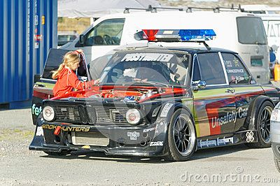 Froya Airport, Norway, 12 september 2015: Norwegian drifting car racing.  Motor sports competitions and demonstration of fast cars in Norway . Exhibition of cars with modifications for drifting. Island in the Atlantic Ocean and Norwegian fjord.