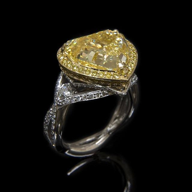 Fancy yellow diamond heart ring.  7.25ct fancy yellow VS1.