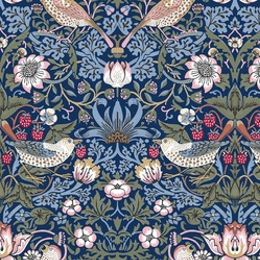 Strawberry Thief (William Morris) by Victoria and Albert Museum, London, with Original colourway - This is one of Morris' best-known designs. He based the pattern and name on the thrushes which frequently stole the strawberries in the kitchen garden of his countryside home, Kelmscott Manor, in Oxfordshire.