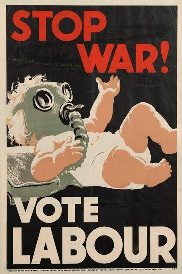 DESIGNER UNKNOWN -  STOP WAR! / VOTE LABOR. Victoria House Printing Co., London.