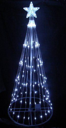 Spectacular  Pure White LED Light Show Cone Christmas Tree Lighted Yard Art Decoration for only