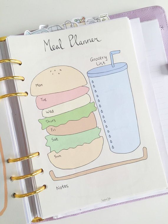 Cute Printable A5 Page – Weekly Meal Planner (with Grocery List) – Shopping List – Burger Design – Menu Planner – Printable Meal Planner