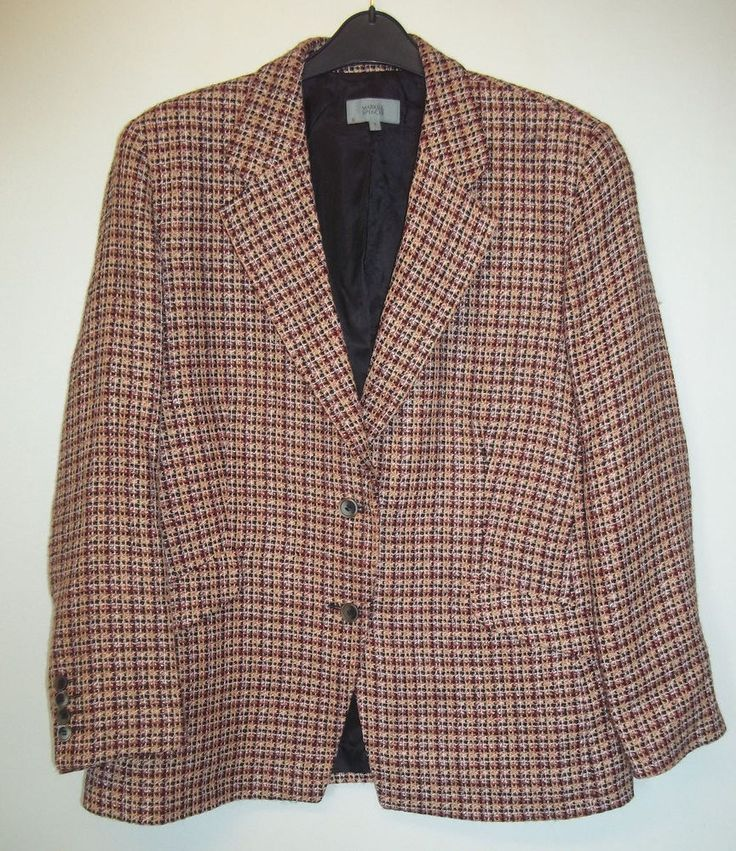 MARKS & SPENCER RED MIX DOUBLE BREASTED JACKET SIZE 18 - BEAUTIFUL CONDITION! #MarksandSpencer #Blazers #Casual