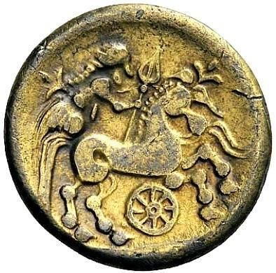 Celtic coin with a horse and a Taranus-wheel; a deity (war-goddess?) hovers behind the horse.