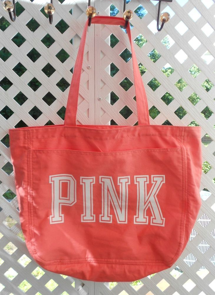 PINK BY VICTORIA'S SECRET CAMPUS SCHOOL TOTE BAG ZIPPER CORAL NWOT #PinkByVictoriasSecret #LargeTotes