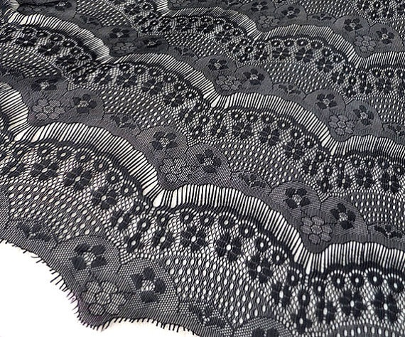 Lace Fabric Black Eyelash Soft Lace  DIY by miraculousfabric, $6.99