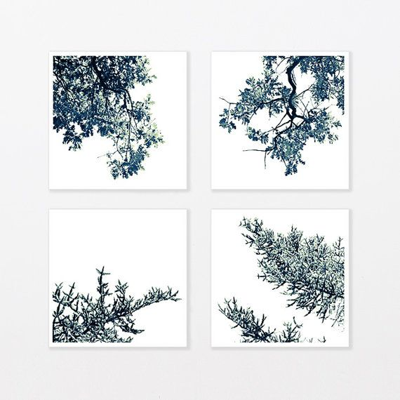 Baum Print Set von vier, skandinavischen Print Set. Schwarzweiß-Print-Set, frisch verheiratetes Geschenk