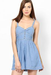 Light Blue Solid Halter Dress