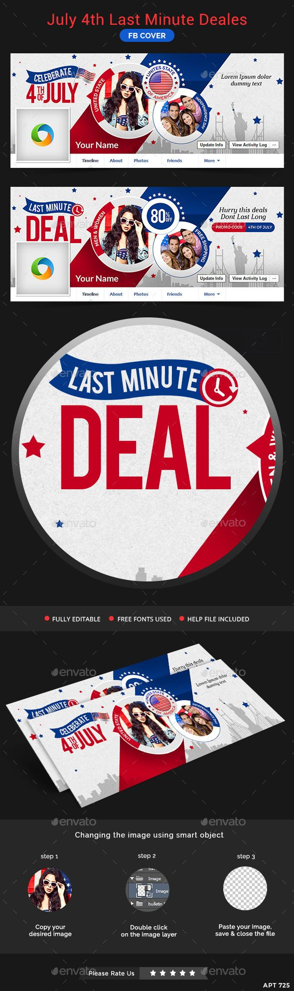 July 4th Last Minute Deals Facebook Cover Template PSD #design Download: http://graphicriver.net/item/july-4th-last-minute-deals-facebook-cover/11975493?ref=ksioks