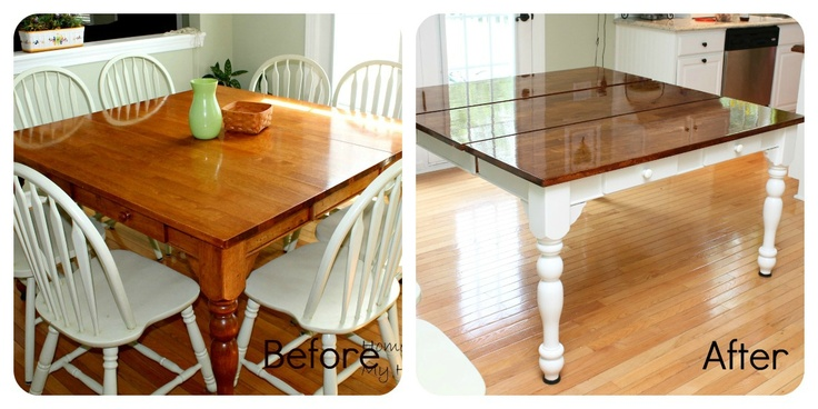 Re-staining a kitchen table.: Dining Rooms, Varnish Tables, Kitchen Tables, Houses Ideas, Butcher Blocks Tables, Kitchen Table Redo, Kitchens Tables Redo, Tables Makeovers, Dining Tables