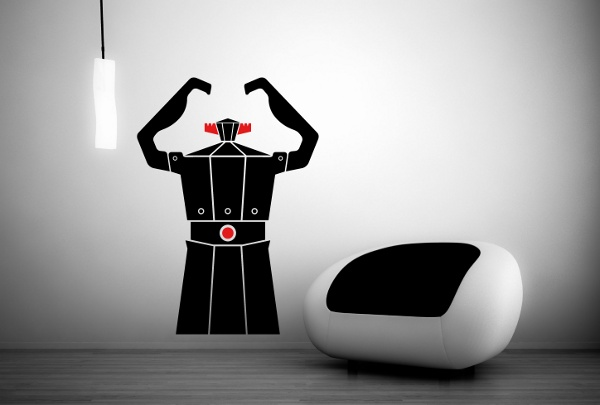 "#Wallsticker ""Robot Moka"" finds Italian rooms! Only this month, #Robot #Moka (Orange/Black - size M cm 58x86) on sale!"