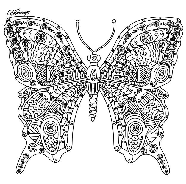 Steampunk Butterfly To Color With Colortherapy App Butterfly Coloring Page Color Therapy App Mandala Pattern
