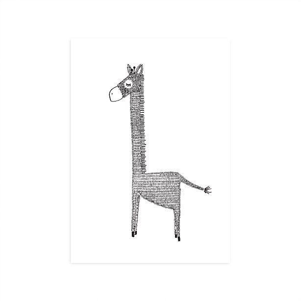 Ansichtkaart Giraffe Ansichtkaart met illustratie van een giraffe. Gedrukt op structuurpapier. Afmeting A6-formaat. Illustratie: Mijksje. Ook verkrijgbaar als poster in A4 formaat.