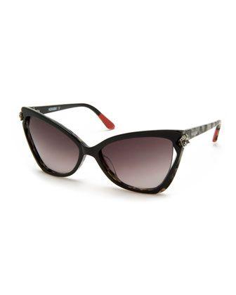 Crystal-Detail Cat-Eye Sunglasses, Black/White by Missoni at Bergdorf Goodman.