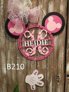 B210 - Monogram Minnie Mouse Door Hanger - Disney Hospital Door Hanger - Mickey Hand Birth Announcement Sign - Disney Nursery Decor