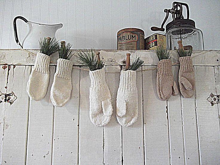 Greenery in wool gloves