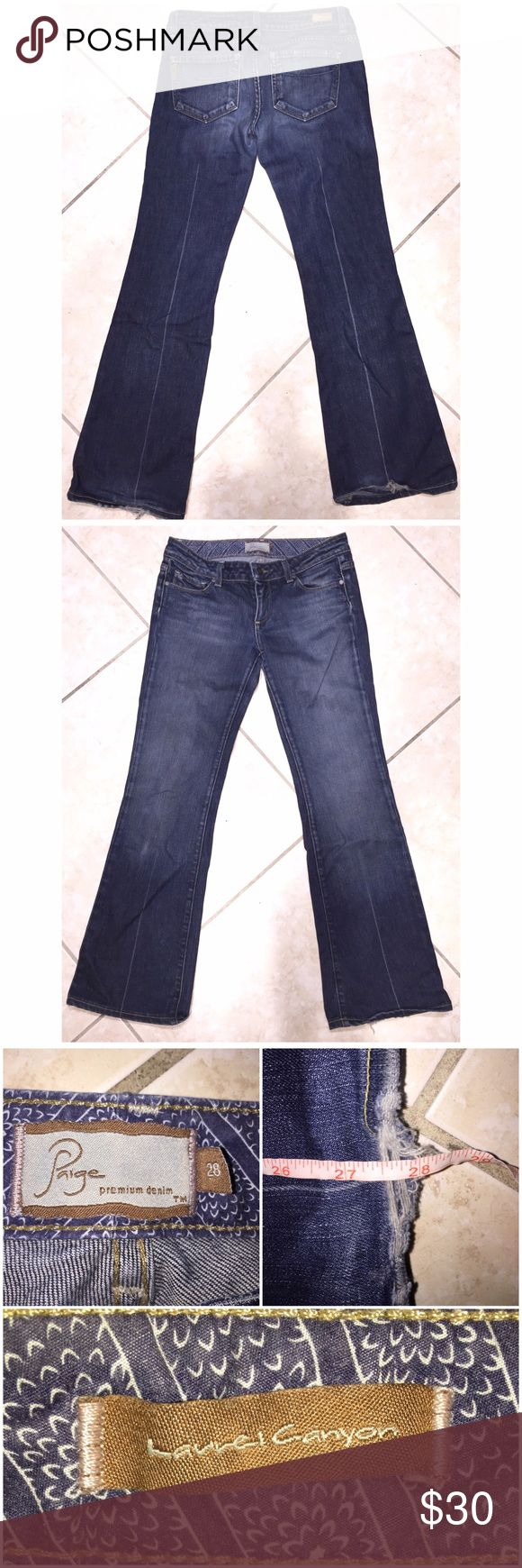 "Paige Jeans Paige ""Laurel Canyon"" Jeans in 28 with a 28"" inseam come preloved and in VERY GOOD condition! The hems are frayed but these jeans are in otherwise great condition. Low rise, boot cut and medium wash. Perfect every day jeans! My prices fluctuate from time to time. Catch items when the prices are low!❤️ Paige Jeans Jeans Boot Cut"