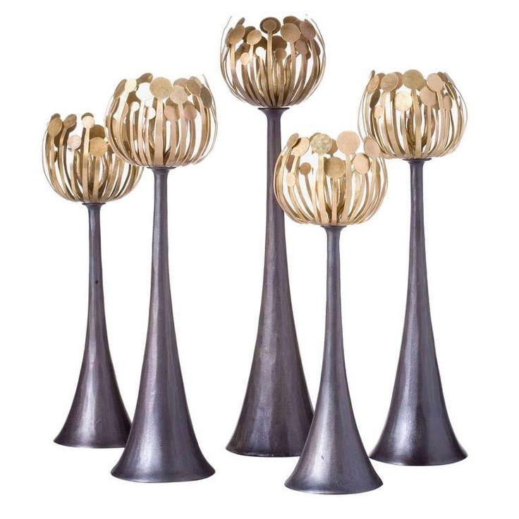 """""""Pistil"""" Bronze Candlesticks by Hervé van der Straeten"""