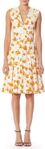 Carolina Herrera Butterfly-Print Pleated V-Neck Dress, White/Orange
