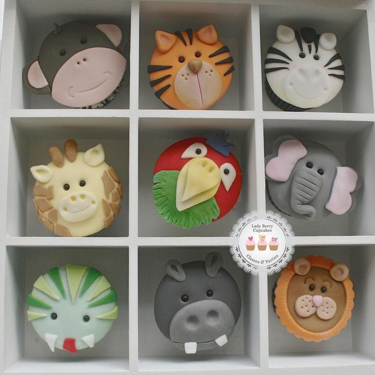 Jungle animals cupcakes