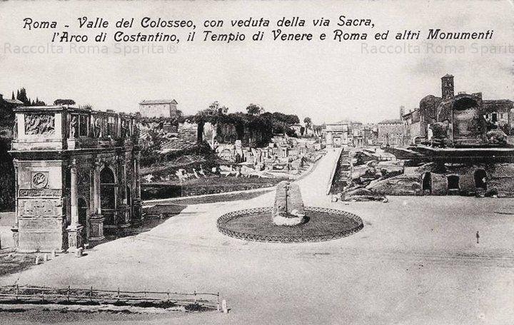 Valle del Colosseo, con veduta della via Sacra, l'Arco di Costantino, il Tempio di Venere e Roma, l'arco di Tito e in primo piano la Meta Sudans Anno: ?