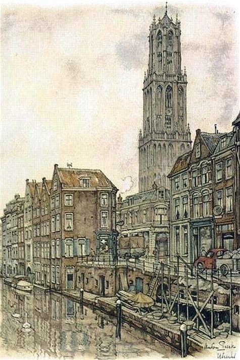 Kerst in Utrecht 1950 | Anton Pieck | De Oudegracht ter hoogte van de Donkere Gaard en het Wed