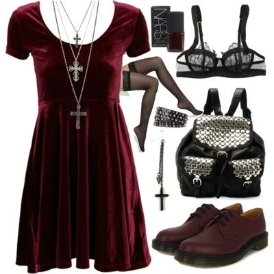 Velvet dress with dark accessories
