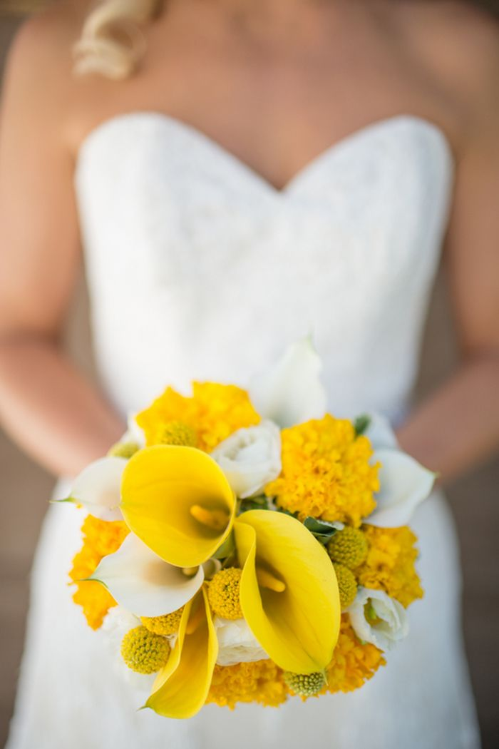 Yellow Calla Lily Bouquet   Rustic Mountain Wedding with Sunny Yellow Details