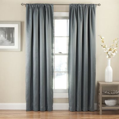 Wayfair- this is likely the only color that would work. approx $25/panel.  Polyester. Eclipse Curtains Tricia