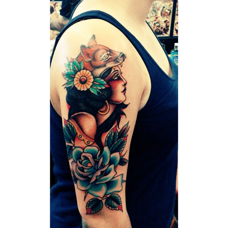Traditional gypsy lady tattoo with fox hat. (My new tattoo) Done by Cody Collins