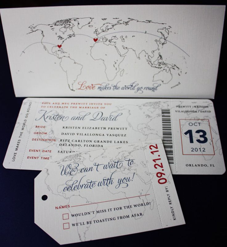 We love these invitations! We like the fonts, we like that they're shaped like boarding passes and luggage tags, and it matches our Save the Date style.