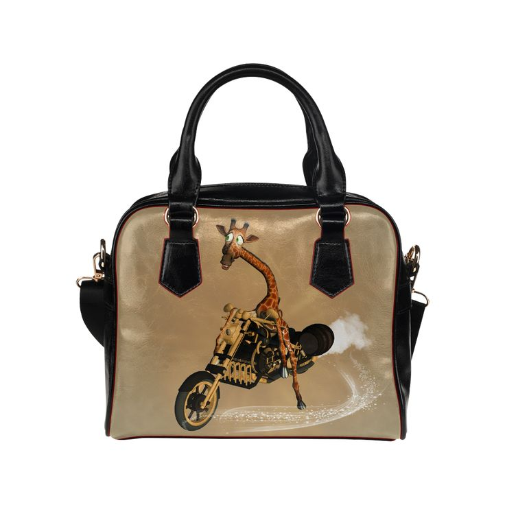 Funny giraffe with motorcycle Shoulder Handbag (Model 1634)