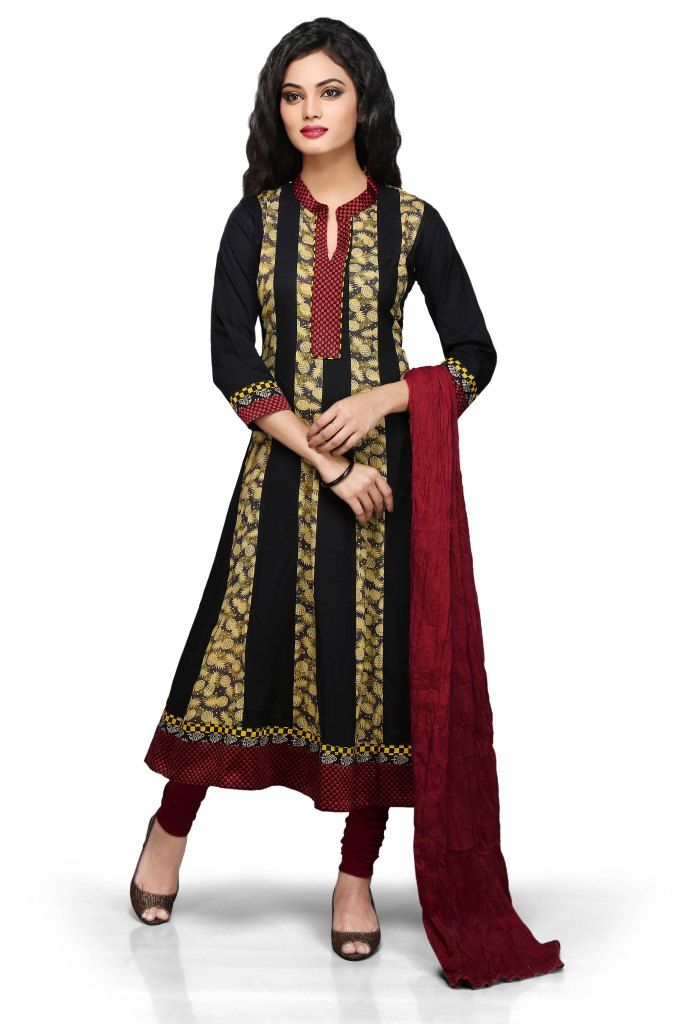 #BLACK AND BEIGE COTTON READYMADE #ANARKALI CHURIDAR SUIT