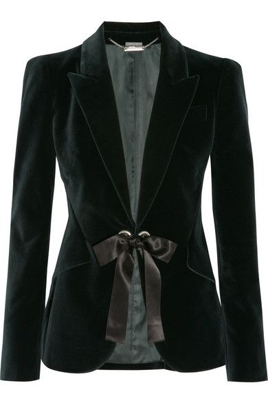 Alexander McQueenBow-Embellished Velvet Jacket. Love that it ties closed (with a bow!)